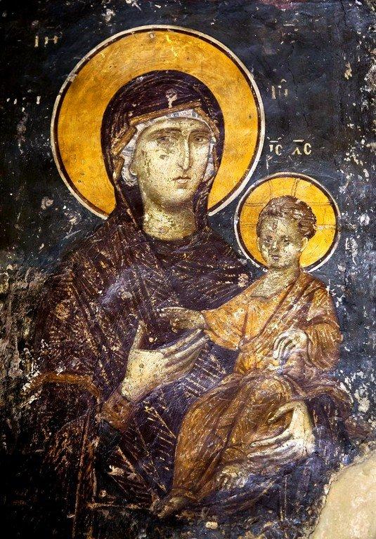 Богоматерь Одигитрия. Фреска церкви Святого Николая Орфаноса в Салониках, Греция. 1310 - 1315 годы.