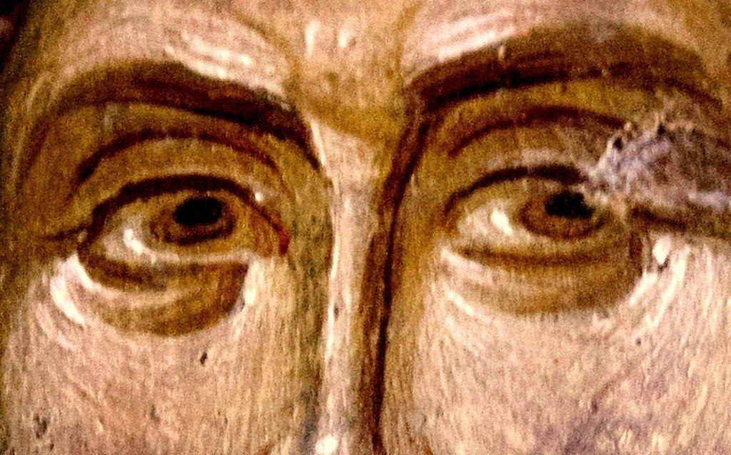 Христос Спаситель. Фреска церкви Святого Николая Орфаноса в Салониках, Греция. 1310 - 1315 годы. Фрагмент.