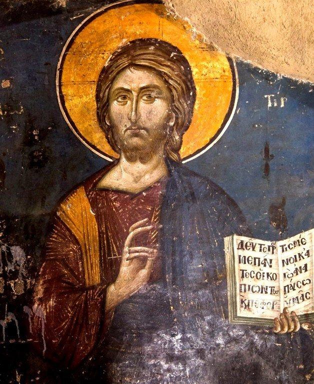 Христос Спаситель. Фреска церкви Святого Николая Орфаноса в Салониках, Греция. 1310 - 1315 годы.