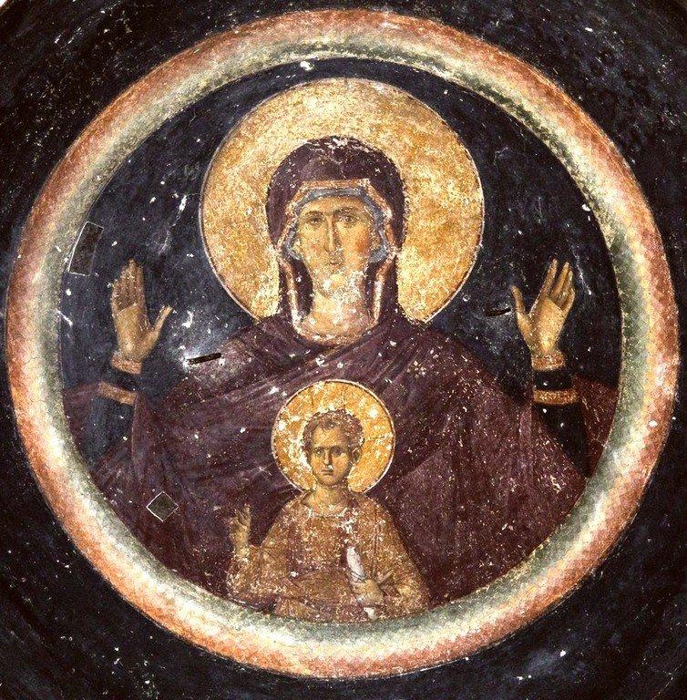 Богоматерь Оранта. Фреска церкви Святых Апостолов в Салониках, Греция. XIV век.