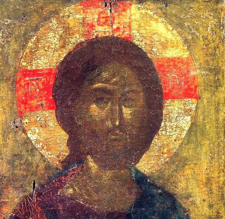 Христос Пантократор. Византийская икона конца XIV века. Монастырь Ватопед на Афоне. Лик Спасителя.