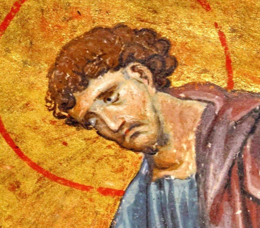 Святой Апостол и Евангелист Лука. Фрагмент византийской миниатюры XIII века.