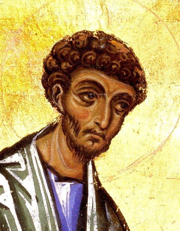 Святой Апостол и Евангелист Лука. Фрагмент византийской миниатюры XII века.