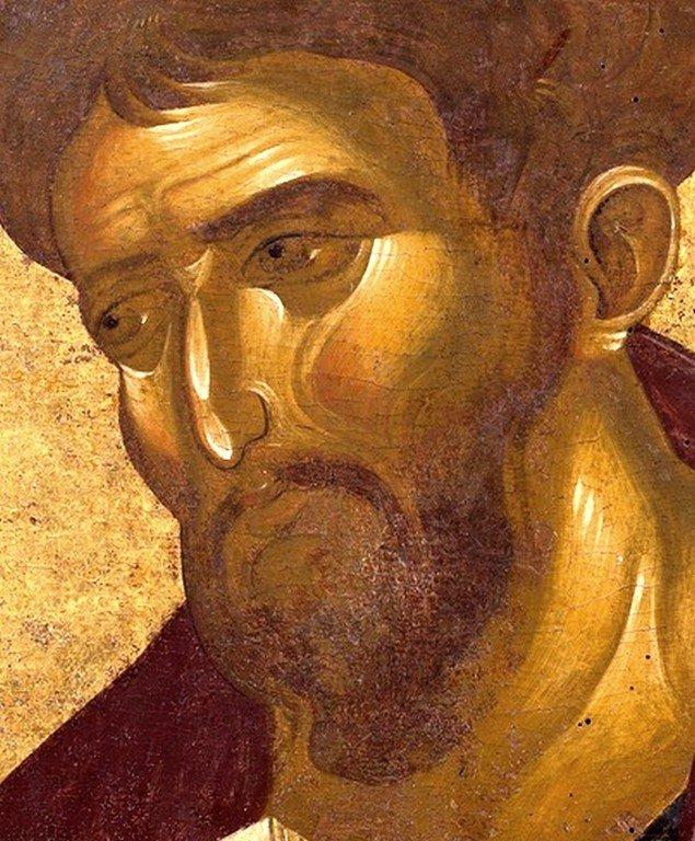 Святой Апостол и Евангелист Лука. Фрагмент византийской иконы XIV века. Монастырь Ватопед на Афоне.