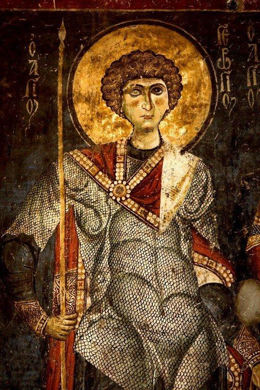Святой Великомученик Георгий Победоносец. Фреска церкви Святых Врачей в Кастории, Греция. Конец XII века.