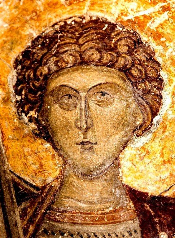 Святой Великомученик Георгий Победоносец. Фреска церкви Святых Архангелов в Кастории, Греция. 1360 год.