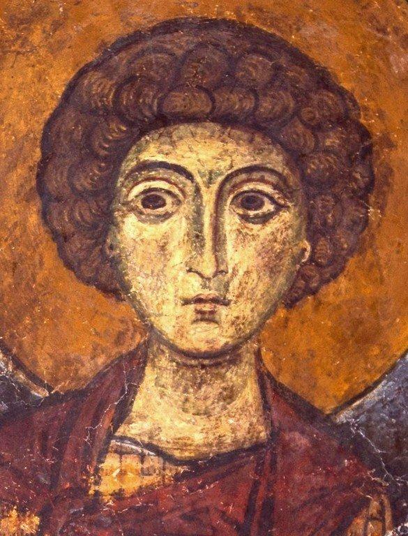 Святой Великомученик Георгий Победоносец. Византийская фреска в церкви Святого Стефана в Кастории, Греция.