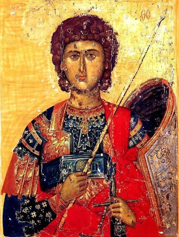 Святой Великомученик Георгий Победоносец. Византийская икона XIV века. Византийский церковный музей в Митилене, Греция.