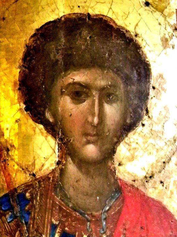 Святой Великомученик Георгий Победоносец. Византийская икона. Великая Лавра Святого Афанасия на Афоне. Лик.