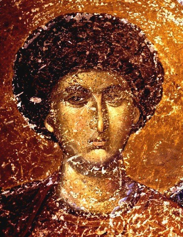 Святой Великомученик Георгий Победоносец. Фреска монастыря Хора в Константинополе. 1315 - 1321 годы.