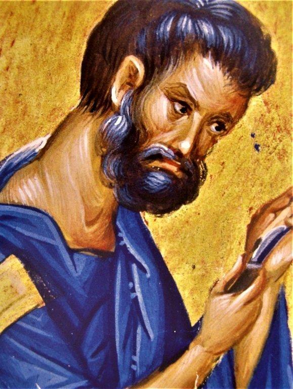 Святой Апостол и Евангелист Марк. Византийская миниатюра. Монастырь Ватопед на Афоне. Фрагмент.