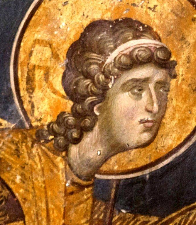 Архистратиг Михаил. Фреска церкви Святого Николая Орфаноса в Салониках, Греция. 1310 - 1315 годы.