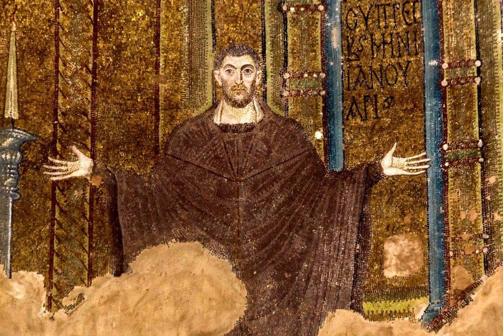 Святой Анания. Мозаика церкви Святого Георгия (Ротонды Святого Георгия) в Салониках, Греция. IV - V вв.