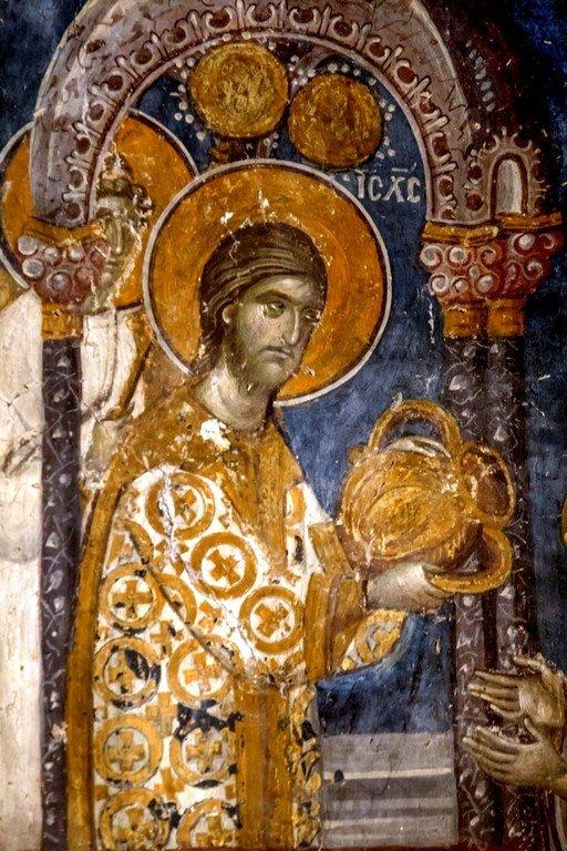 Евхаристия (Причащение Апостолов). Фреска церкви Святого Николая Орфаноса в Салониках, Греция. 1310 - 1315 годы. Фрагмент.
