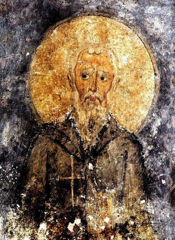 Преподобный. Фреска собора Святой Софии в Салониках, Греция. XI век.