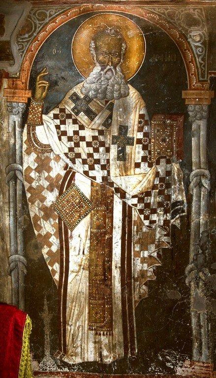Святитель Афанасий Великий, Архиепископ Александрийский. Фреска церкви Святого Афанасия ту Музаки в Кастории, Греция. 1383 - 1384 годы.