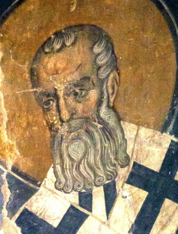 Святитель Афанасий Великий, Архиепископ Александрийский. Византийская фреска в церкви Старая Митрополия в Верии, Греция.