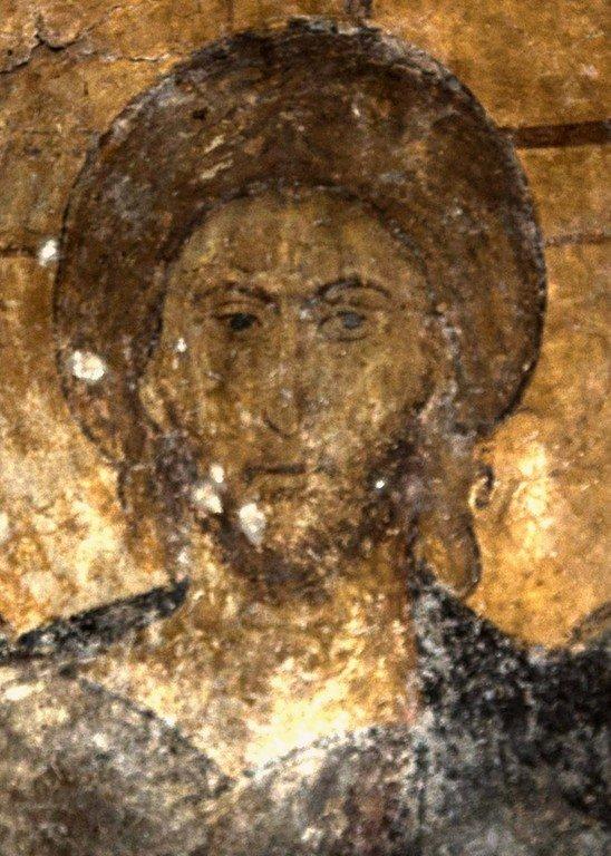 Христос Пантократор. Фреска церкви Святого Димитрия Кацуриса в Арте, Греция. Конец XIII века. Лик Спасителя.
