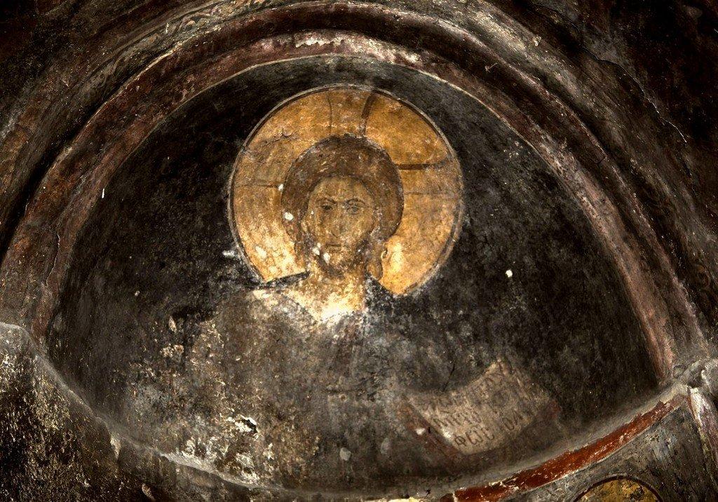 Христос Пантократор. Фреска церкви Святого Димитрия Кацуриса в Арте, Греция. Конец XIII века.