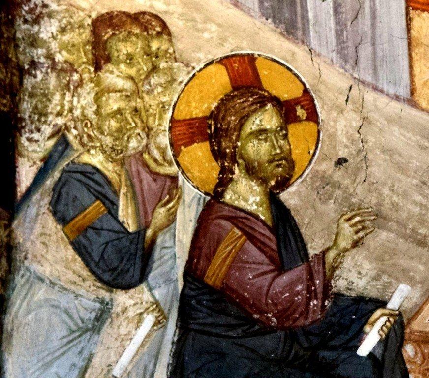 Беседа Христа с самарянкой. Фреска монастыря Святого Иоанна Предтечи близ Серр, Греция. 1345 - 1370 годы. Фрагмент.