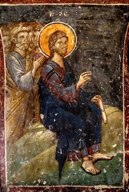 Беседа Христа с самарянкой. Фресковая композиция в церкви Святого Николая Орфаноса в Салониках, Греция. 1310 - 1315 годы. Фрагмент.