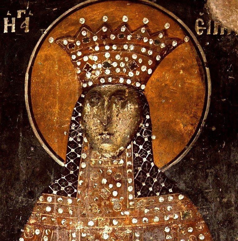 Святая Великомученица Ирина Македонская. Фреска церкви Святого Николая Орфаноса в Салониках, Греция. 1310 - 1315 годы.