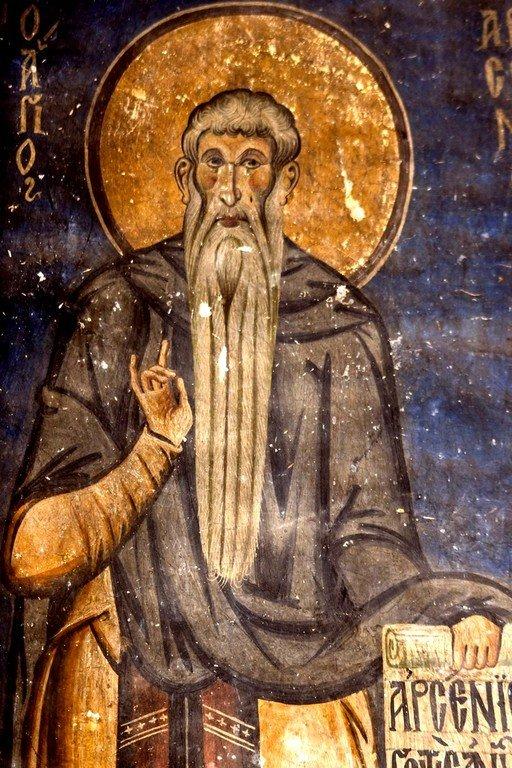 Святой Преподобный Арсений Великий. Фреска церкви Святых Врачей в Кастории, Греция. Конец XII века.