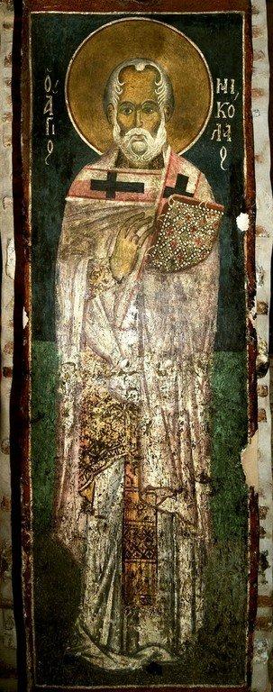 Святитель Николай, Архиепископ Мир Ликийских, Чудотворец. Византийская фреска в церкви Святого Стефана в Кастории, Греция.