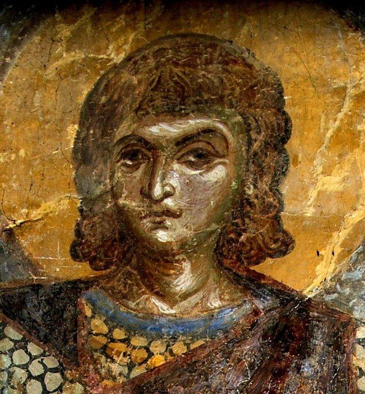 Святой Мученик Александр Римский. Фреска церкви Святого Пантелеимона в Нерези близ Скопье, Македония. 1164 год.