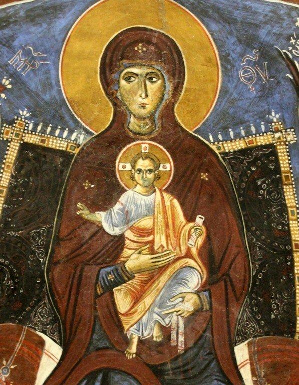 Пресвятая Богородица с Младенцем и Архангелами. Фреска церкви Панагии Аракиотиссы в деревне Лагудера на Кипре. 1192 год. Фрагмент.