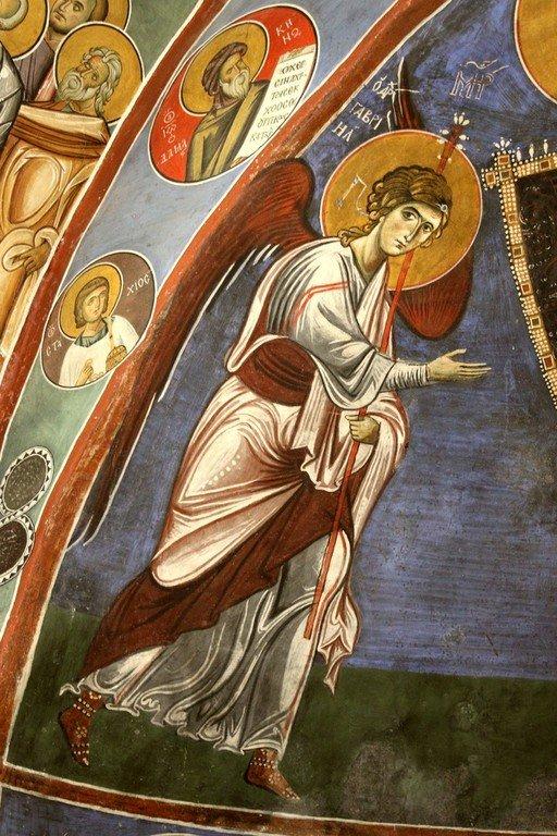 Пресвятая Богородица с Младенцем и Архангелами. Фреска церкви Панагии Аракиотиссы в деревне Лагудера на Кипре. 1192 год. Фрагмент. Архангел Гавриил.