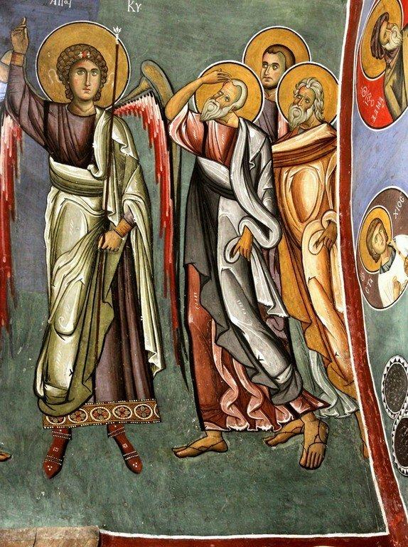 Вознесение Господне. Фреска церкви Панагии Аракиотиссы в деревне Лагудера на Кипре. 1192 год. Фрагмент.