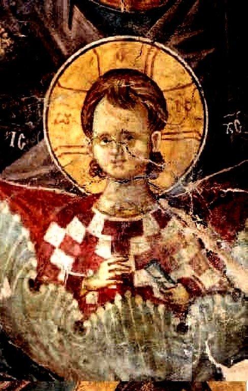 Богоматерь Оранта. Фреска церкви Святого Алипия в Кастории, Греция. Фрагмент.