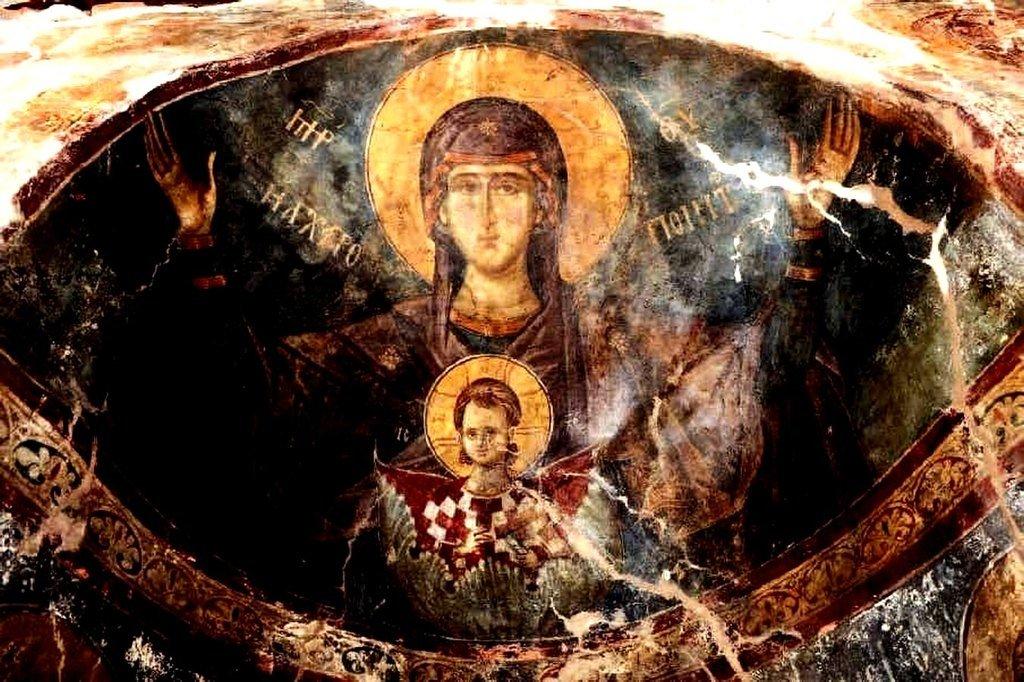 Богоматерь Оранта. Фреска церкви Святого Алипия в Кастории, Греция.