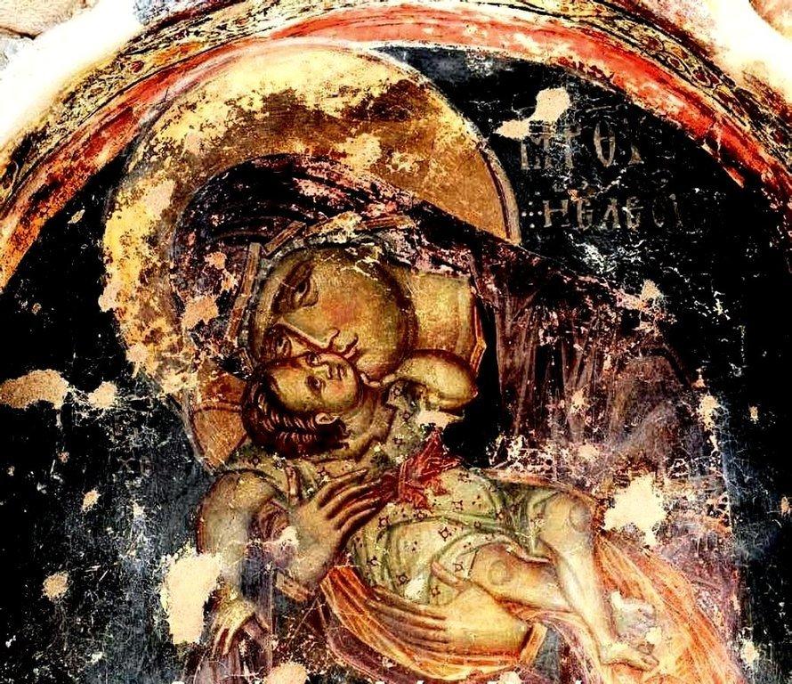 Богоматерь Елеуса. Фреска церкви Святого Алипия в Кастории, Греция.