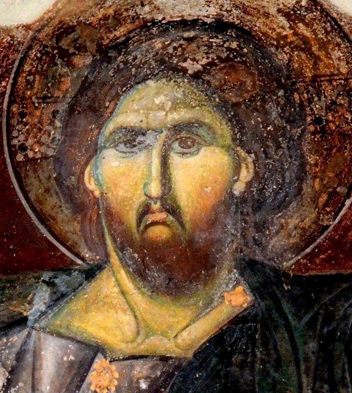 Христос Пантократор. Фреска церкви Святого Георгия (Оморфоклисия) в Галаци, Афины.