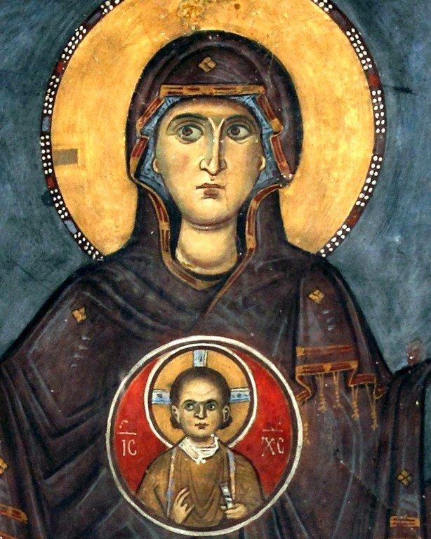 Богоматерь Оранта. Фреска церкви Панагии Феотокос в Трикомо на Кипре. XII век. Фрагмент.