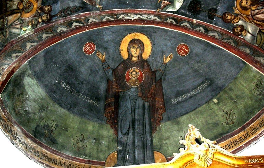 Богоматерь Оранта. Фреска церкви Панагии Феотокос в Трикомо на Кипре. XII век.