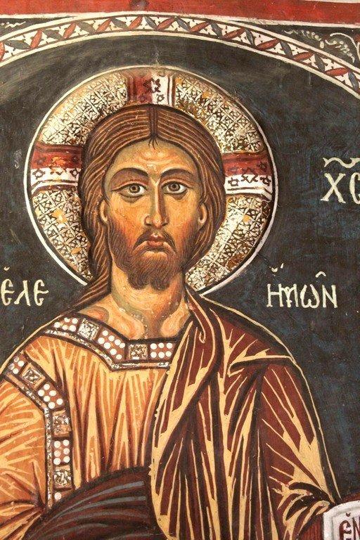Христос Элеимон (Милостивый). Фреска церкви Панагии Асину (Панагии Форвиотиссы) близ Никитари на Кипре.