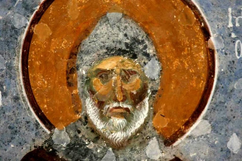 Святой Преподобный Симеон Столпник, Дивногорец. Фреска собора Святой Софии в Трапезунде. XIII век.