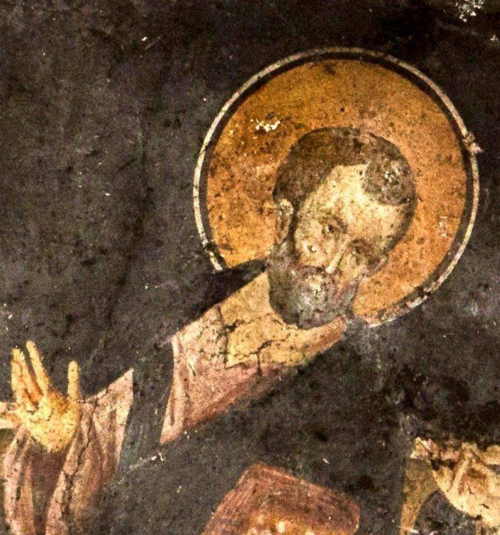 Сошествие Святого Духа на Апостолов. Фреска церкви Святого Димитрия Кацуриса в Арте, Греция. Конец XIII века. Фрагмент.
