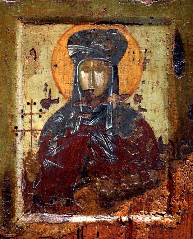 Святая Преподобномученица Феодосия Константинопольская. Византийская икона XIV века. Византийский музей в Салониках, Греция.