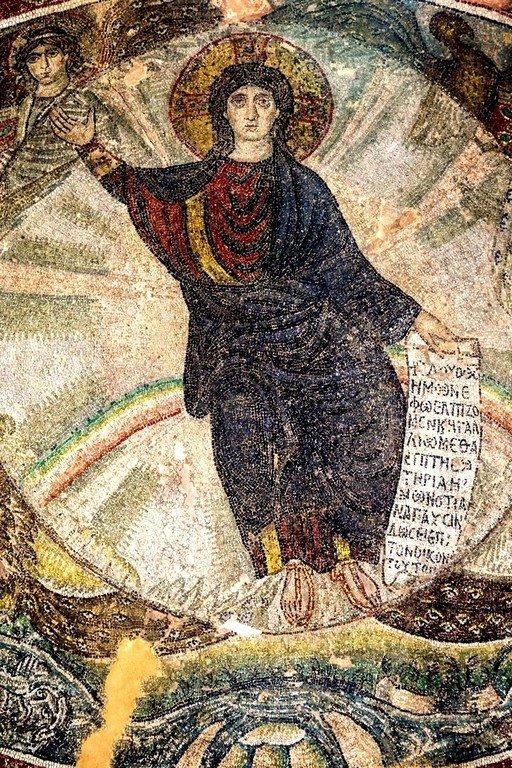 Видение Пророка Иезекииля (?). Мозаика монастыря Латому в Салониках, Греция. Конец V - начало VI веков. Фрагмент.