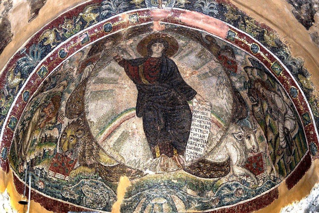 Видение Пророка Иезекииля (?). Мозаика монастыря Латому в Салониках, Греция. Конец V - начало VI веков.