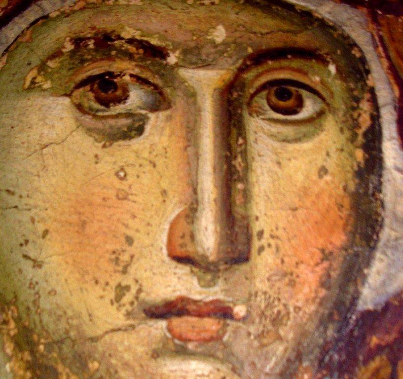 Лик Пресвятой Богородицы. Фреска храма Протатон (Протат) на Афоне. Конец XIII века. Иконописец Мануил Панселин.