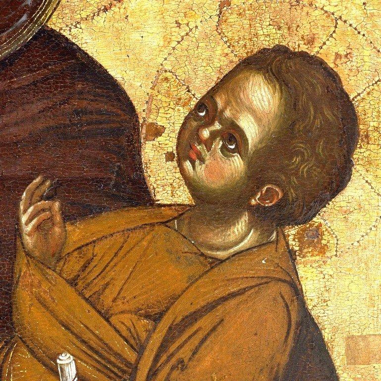 Богоматерь Аристократуса. Византийская икона XIII века. Монастырь Ватопед на Афоне. Фрагмент.