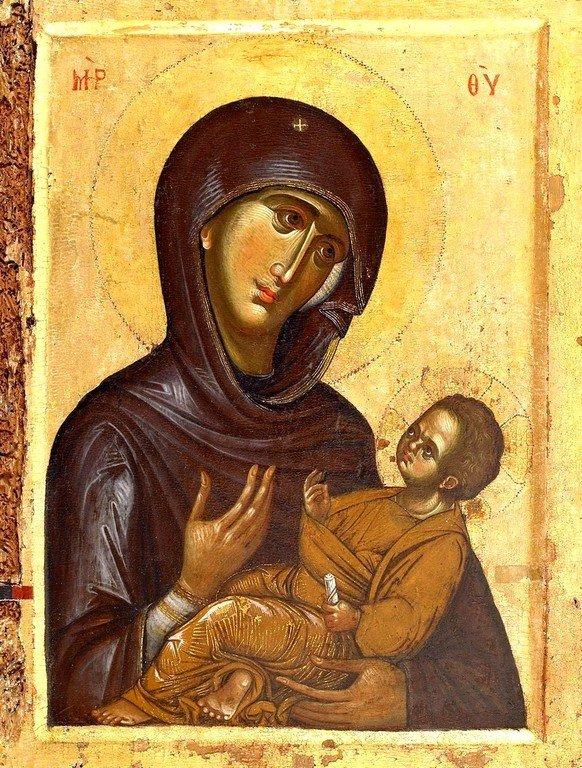 Богоматерь Аристократуса. Византийская икона XIII века. Монастырь Ватопед на Афоне.