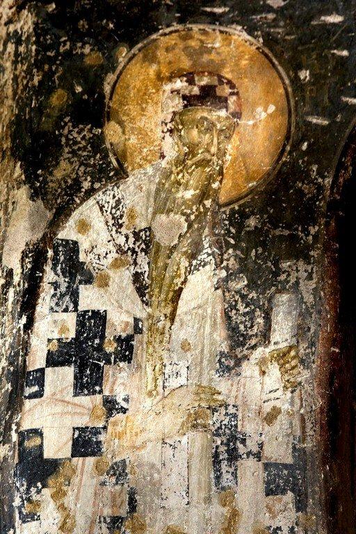 Святитель Кирилл, Архиепископ Александрийский. Византийская фреска в церкви Святого Пантелеимона в Салониках, Греция.