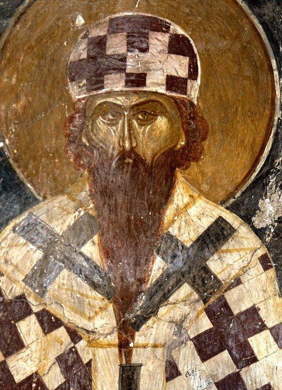 Святитель Кирилл, Архиепископ Александрийский. Византийская фреска в церкви Святых Архангелов в Кастории, Греция.
