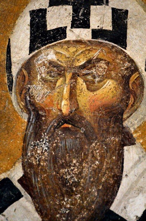 Святитель Кирилл, Архиепископ Александрийский. Фреска монастыря Хора в Константинополе. 1315 - 1321 годы.